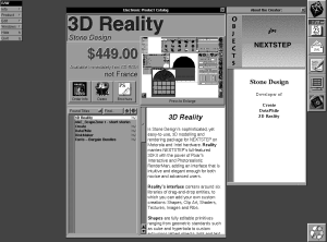 The original AppStore, The Electronic AppWrapper showing Stone Design's 3D Reality app for $449.00.