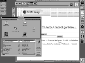 Modern Day Stone Design Web Page as Seen on 1990s Web Browser, NetSurfer where you can still see the bookmark to http://stone.com/ from that time..
