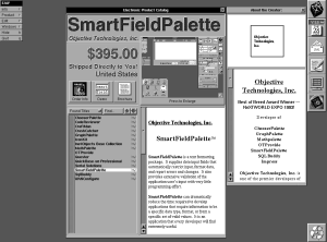 """Objects for sale!"" -- Object Technology, Inc's SmartFieldPalette, as seen on the Electronic AppWrapper, the first electronic product catalog, or AppStore."